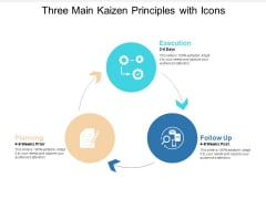 Three Main Kaizen Principles With Icons Ppt Powerpoint Presentation File Structure