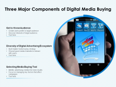 Three Major Components Of Digital Media Buying Ppt PowerPoint Presentation File Slides PDF