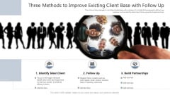 Three Methods To Improve Existing Client Base With Follow Up Ppt PowerPoint Presentation Show Background Designs PDF