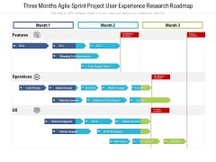 Three Months Agile Sprint Project User Experience Research Roadmap Elements