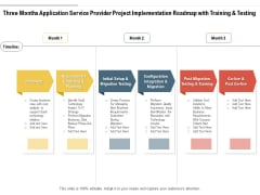 Three Months Application Service Provider Project Implementation Roadmap With Training And Testing Summary