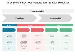 Three Months Business Management Strategy Roadmap Brochure