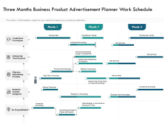 Three Months Business Product Advertisement Planner Work Schedule Formats
