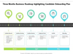 Three Months Business Roadmap Highlighting Candidate Onboarding Plan Formats