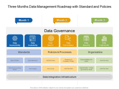Three Months Data Management Roadmap With Standard And Policies Diagrams