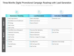 Three Months Digital Promotional Campaign Roadmap With Lead Generation Guidelines