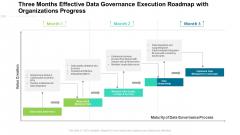 Three Months Effective Data Governance Execution Roadmap With Organizations Progress Portrait