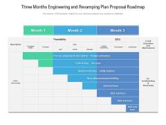 Three Months Engineering And Revamping Plan Proposal Roadmap Icons