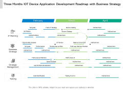 Three Months IOT Device Application Development Roadmap With Business Strategy Elements