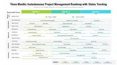 Three Months Instantaneous Project Management Roadmap With Status Tracking Designs