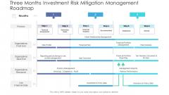 Three Months Investment Risk Mitigation Management Roadmap Portrait