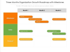 Three Months Organization Growth Roadmap With Milestones Brochure
