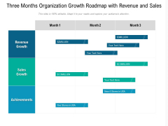 Three Months Organization Growth Roadmap With Revenue And Sales Sample