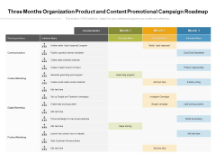Three Months Organization Product And Content Promotional Campaign Roadmap Clipart