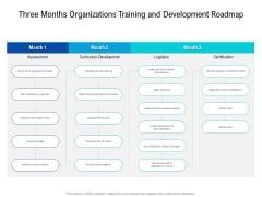 Three Months Organizations Training And Development Roadmap Brochure