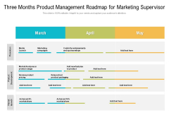 Three Months Product Management Roadmap For Marketing Supervisor Structure