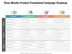 Three Months Product Promotional Campaign Roadmap Diagrams