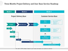 Three Months Project Delivery And User Base Service Roadmap Graphics