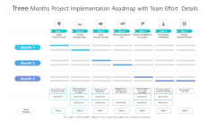 Three Months Project Implementation Roadmap With Team Effort Details Summary