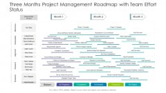 Three Months Project Management Roadmap With Team Effort Status Inspiration