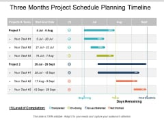 Three Months Project Schedule Planning Timeline Ppt PowerPoint Presentation Professional Ideas