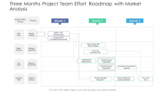 Three Months Project Team Effort Roadmap With Market Analysis Icons