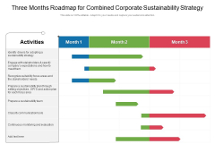 Three Months Roadmap For Combined Corporate Sustainability Strategy Summary