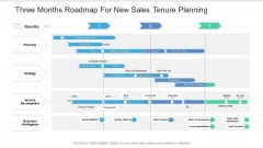 Three Months Roadmap For New Sales Tenure Planning Slides