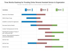 Three Months Roadmap For Providing Online Personal Assistant Service To Organization Sample