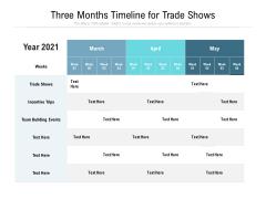 Three Months Timeline For Trade Shows Ppt PowerPoint Presentation Slides Gridlines PDF