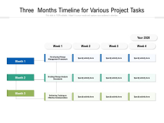 Three Months Timeline For Various Project Tasks Ppt PowerPoint Presentation Layouts Deck PDF