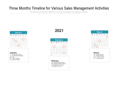Three Months Timeline For Various Sales Management Activities Ppt PowerPoint Presentation Inspiration Grid PDF