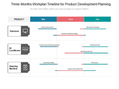 Three Months Workplan Timeline For Product Development Planning Diagrams