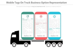Three Options Tags On Truck For Business Powerpoint Slides