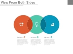 Three Overlapping Circles With Business Icons Powerpoint Slides