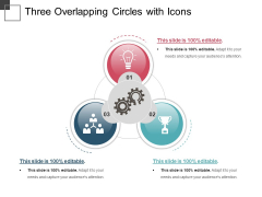 Three Overlapping Circles With Icons Ppt PowerPoint Presentation Styles Influencers PDF