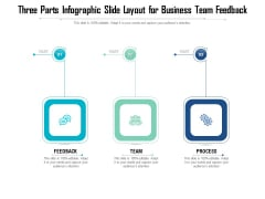 Three Parts Infographic Slide Layout For Business Team Feedback Ppt PowerPoint Presentation Gallery Introduction PDF