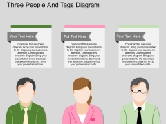 Three People And Tags Diagram Powerpoint Template
