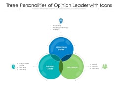 Three Personalities Of Opinion Leader With Icons Ppt PowerPoint Presentation File Picture PDF