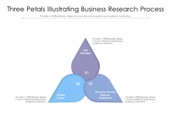 Three Petals Illustrating Business Research Process Ppt PowerPoint Presentation Icon Clipart PDF