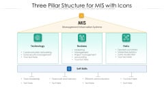 Three Pillar Structure For MIS With Icons Ppt PowerPoint Presentation Icon Graphics PDF