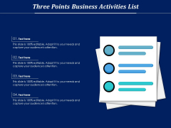 Three Points Business Activities List Ppt PowerPoint Presentation File Tips PDF