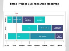 Three Project Business Area Roadmap Ppt PowerPoint Presentation Slides Smartart PDF