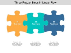 Three Puzzle Steps In Linear Flow Ppt PowerPoint Presentation Inspiration Graphics Design