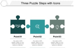 Three Puzzle Steps With Icons Ppt PowerPoint Presentation Ideas Microsoft