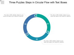 Three Puzzles Steps In Circular Flow With Text Boxes Ppt Powerpoint Presentation File Background Images