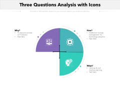 Three Questions Analysis With Icons Ppt PowerPoint Presentation Clipart PDF