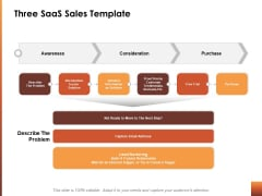 Three Saas Sales Template Ppt Powerpoint Presentation Ideas Microsoft