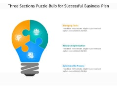 Three Sections Puzzle Bulb For Successful Business Plan Ppt PowerPoint Presentation File Skills PDF