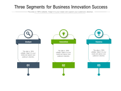 Three Segments For Business Innovation Success Ppt PowerPoint Presentation Icon Files PDF